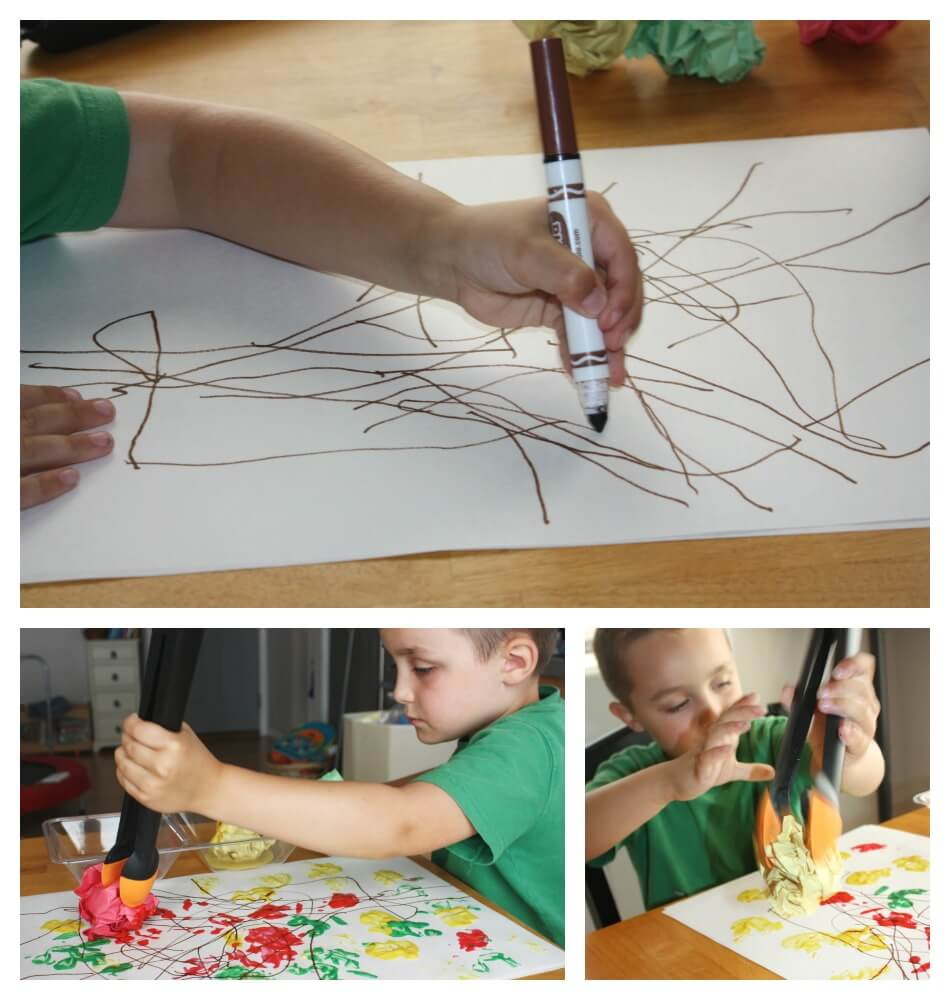 fall painting activity for kids drawing tree and painting with tongs