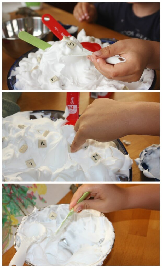 letter recognition shaving cream sensory play scooping poking mixing letters and shaving cream