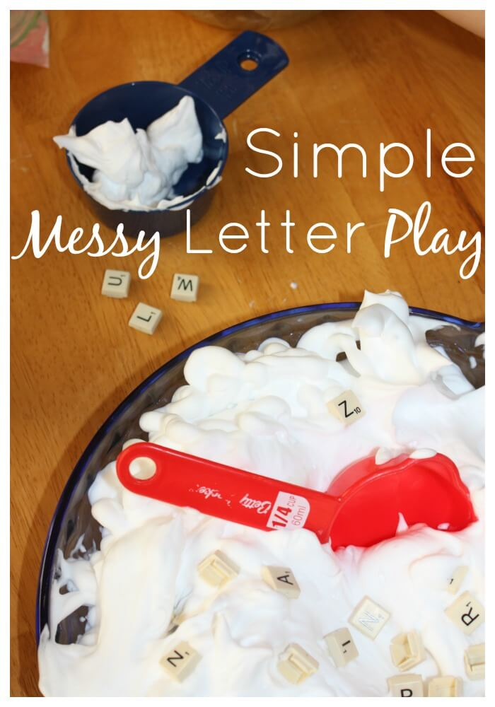 letter recognition shaving cream simple messy letter play