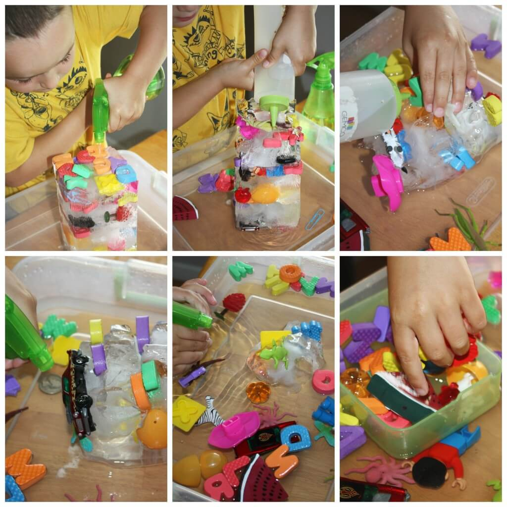 letter sounds activity ice melt sensory play with fine motor tools