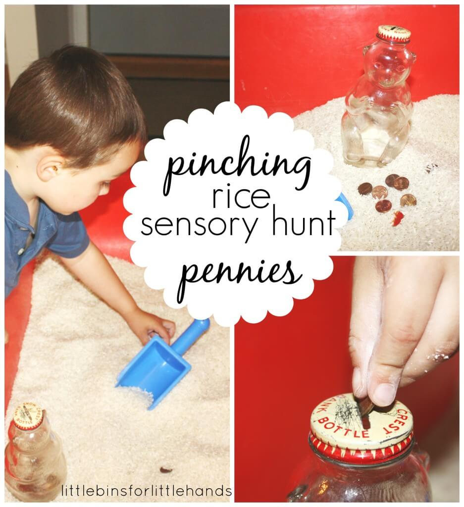 pinching pennies rice sensory hunt