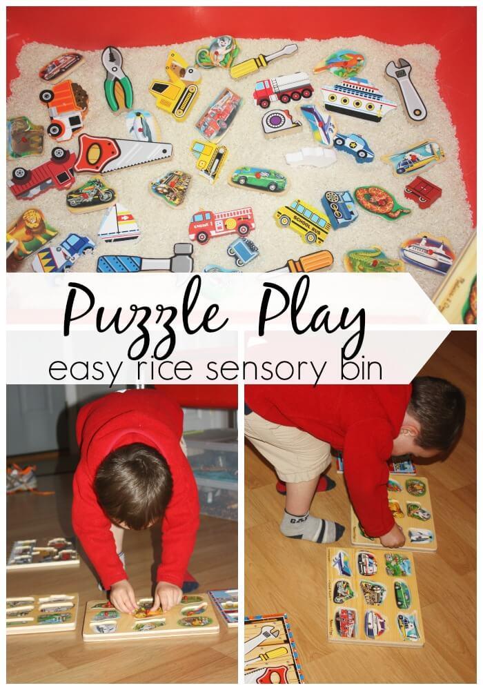 puzzle play rice sensory bin