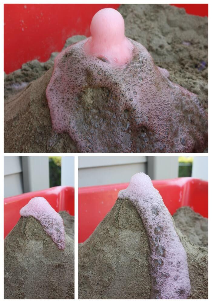 sandbox volcano mini eruptions baking soda and vinegar