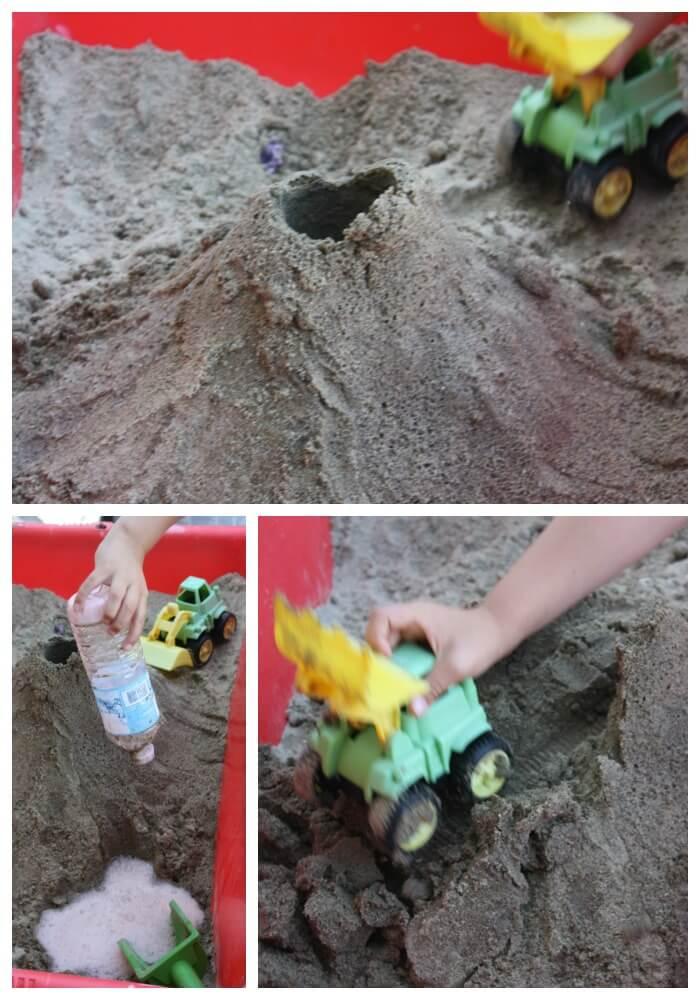 sandbox volcano sensory play