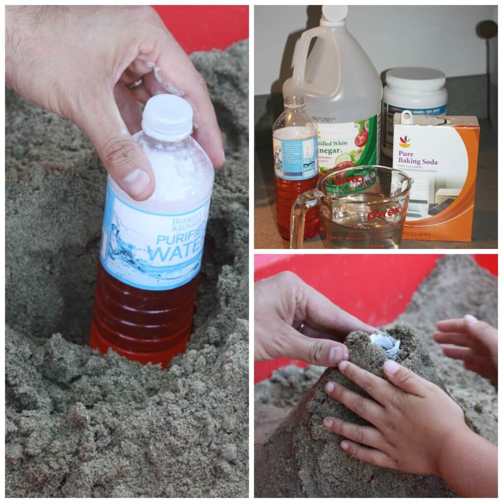 sandbox volcano set up with water bottle and mountain making