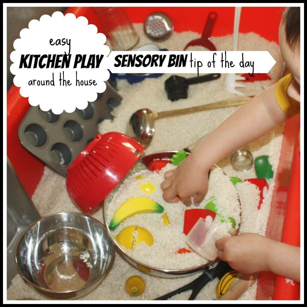 sensory bin tip kitchen play