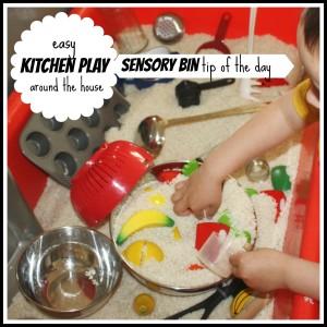 sensory bin tip kitchen play