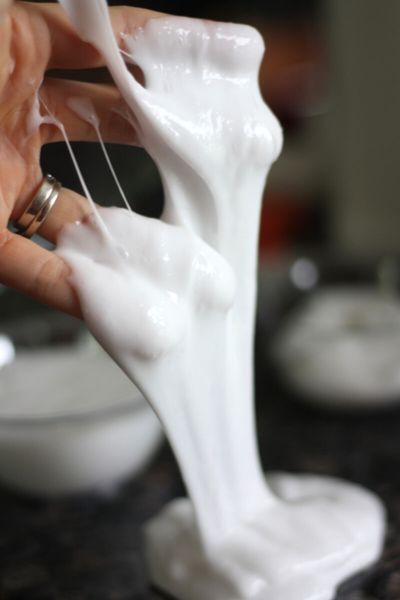 Making Halloween slime with easy homemade slime recipe.