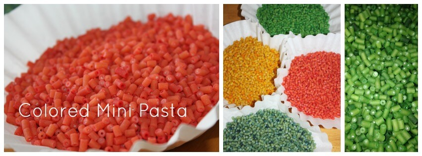 1 recipe for coloring sensory play materials colored pasta