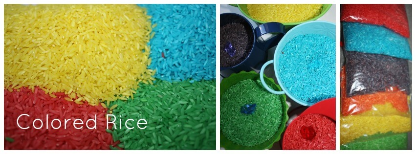 1 recipe for coloring sensory play materials colored rice