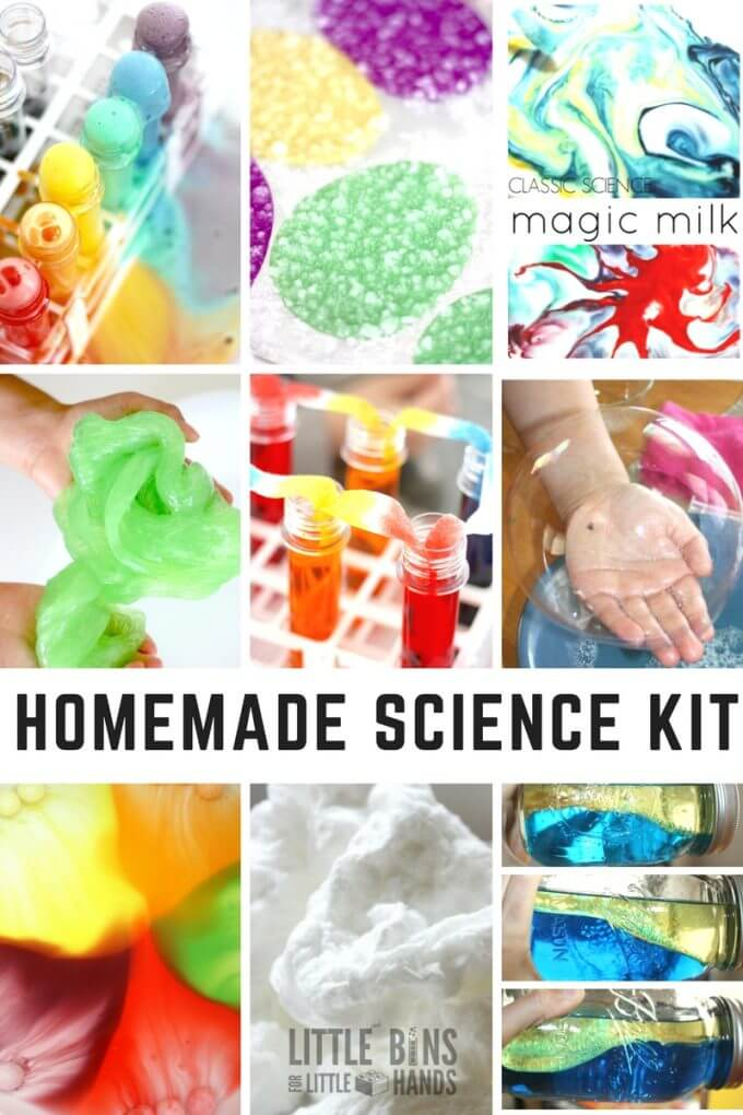 Homemade kids science kit with home science experiments and activities for kids