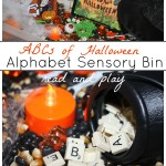 Alphabet Halloween Sensory Bin Read and Play