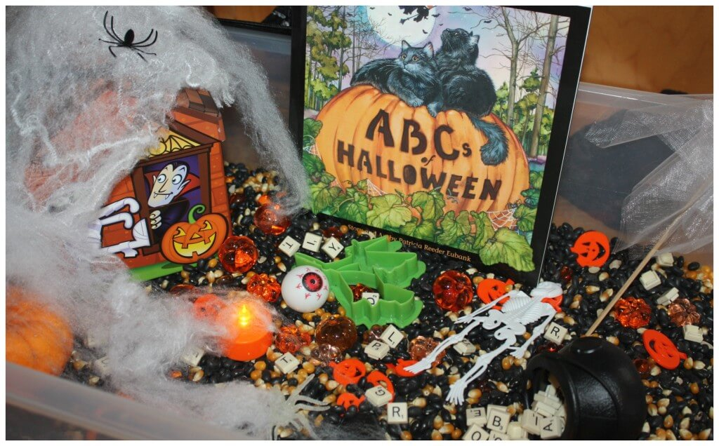 Alphabet Halloween Sensory bin Read and play set up