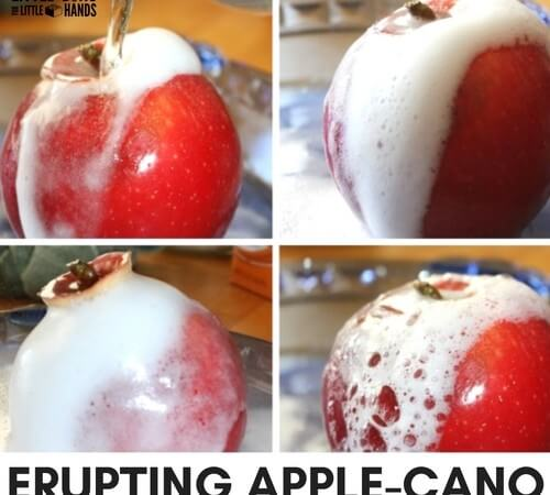 Set up an Apple Volcano with an Erupting Apple Science Activity