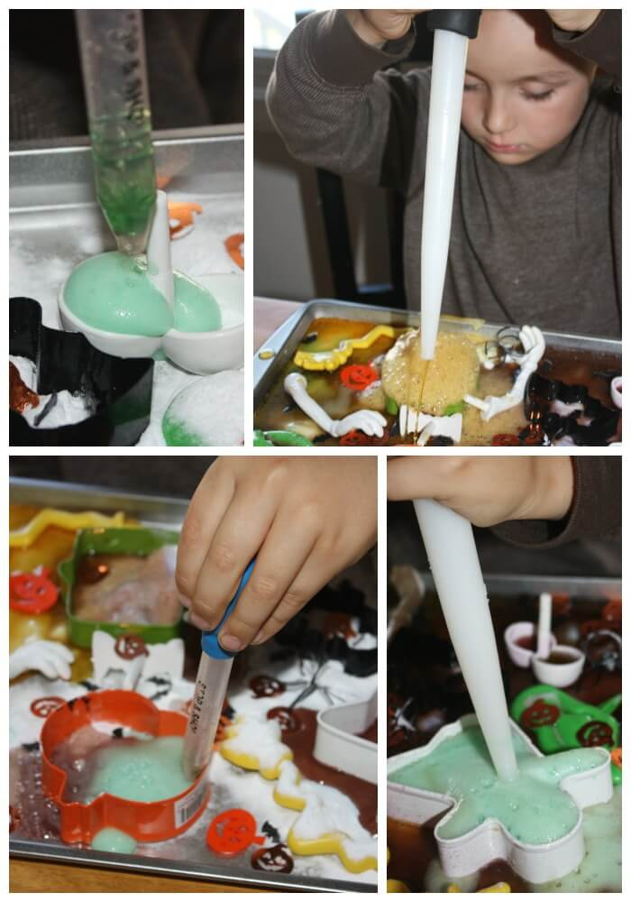 Fizzy Halloween Science Sensory Tray Play With Eye Dropper And Baster