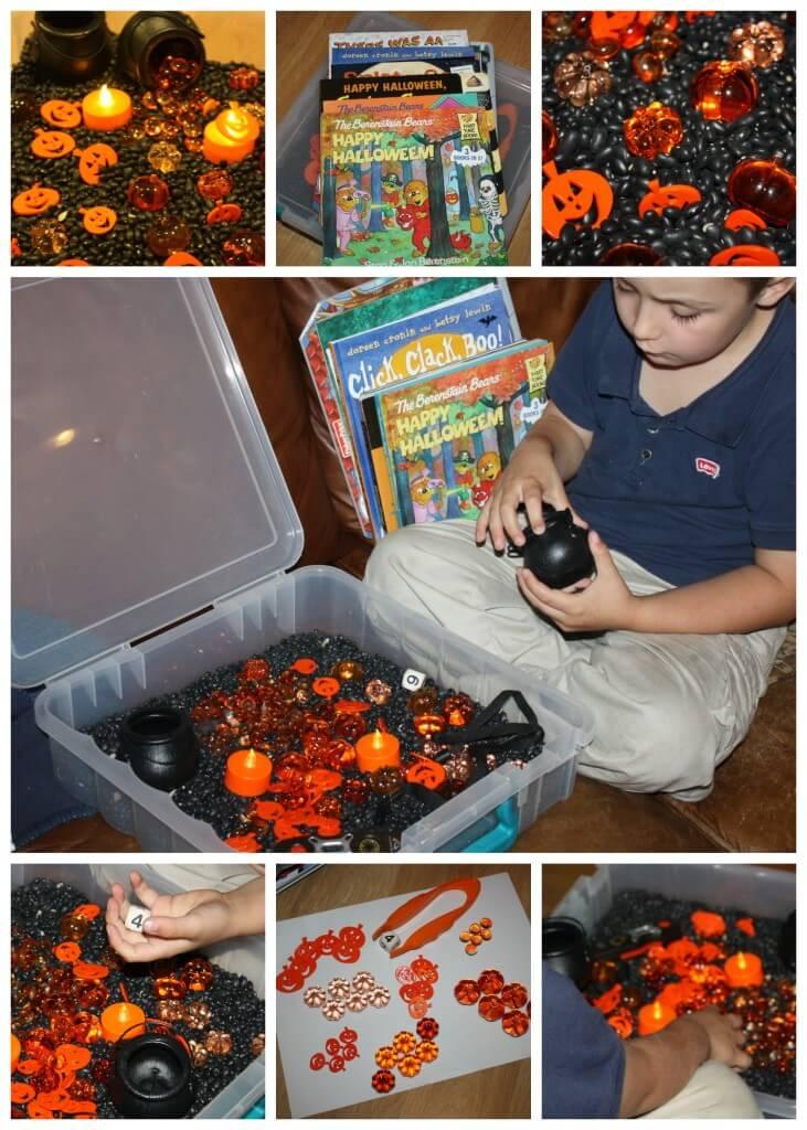 Halloween Sensory Bin And Book Play With Math Skills