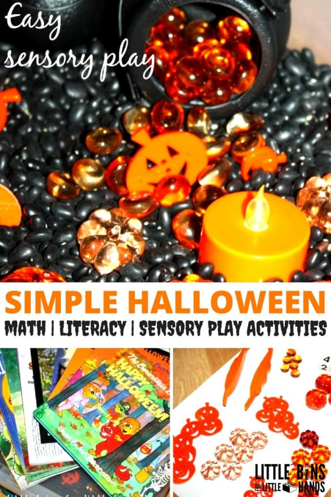Halloween sensory bin math and literacy play activities including fine motor skills.