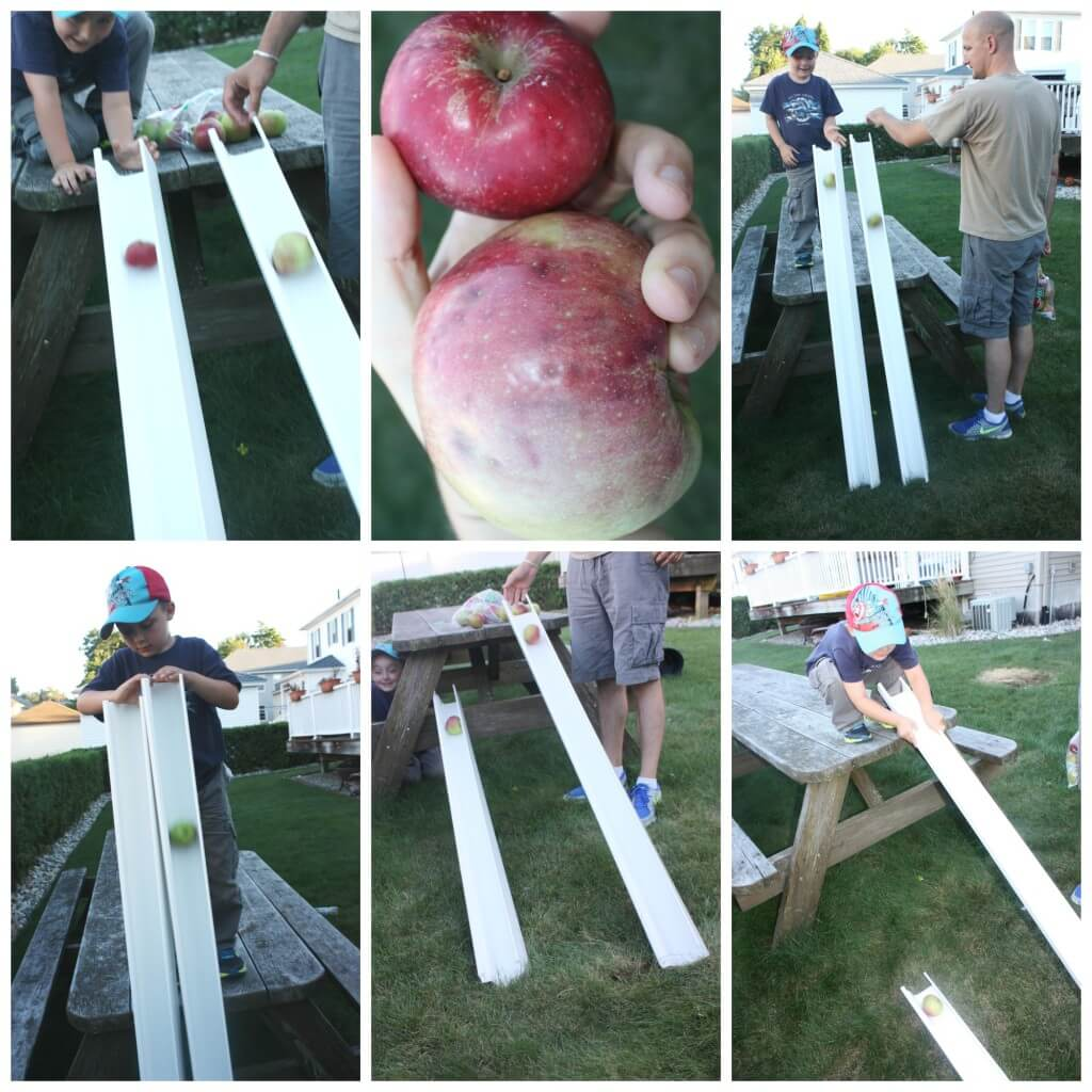 apple gravity experiment science play testing ramps and angles
