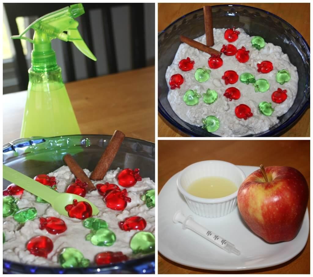 apple pie fizzy science sensory dough set up and apple lemon juice experiment