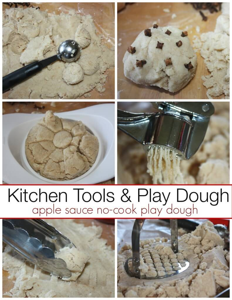 apple sauce no cook play dough with kitchen tools sensory play