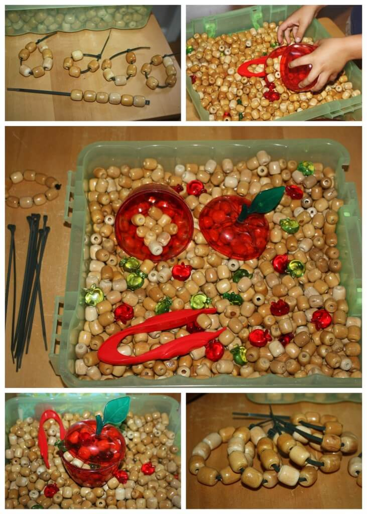 apple wooden beads sensory bin play with threading sorting counting