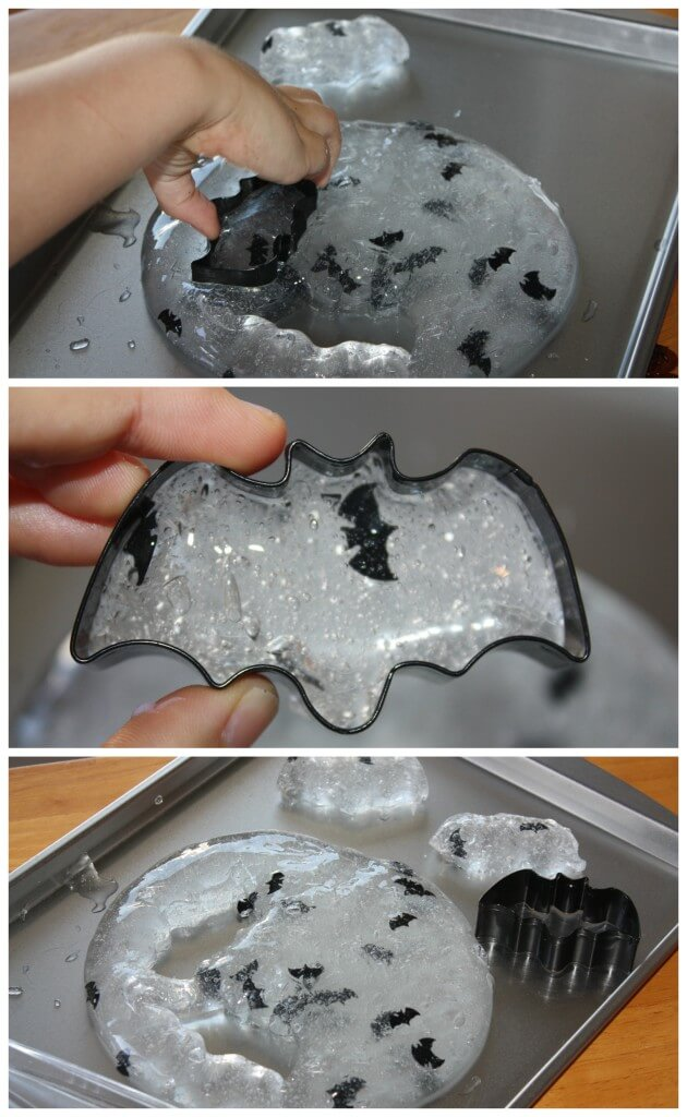 bat easy slime sensory play using cookie cutters
