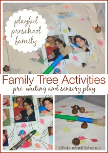 family tree activity playful preschool pre-writing and sensory play