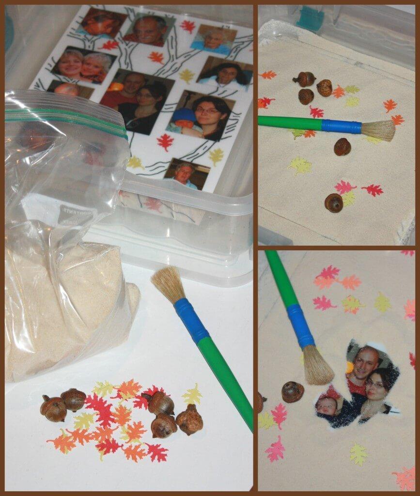 family tree activity sensory bin set up