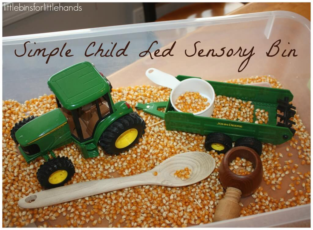 harvest sensory bin tractor play for child led sensory play