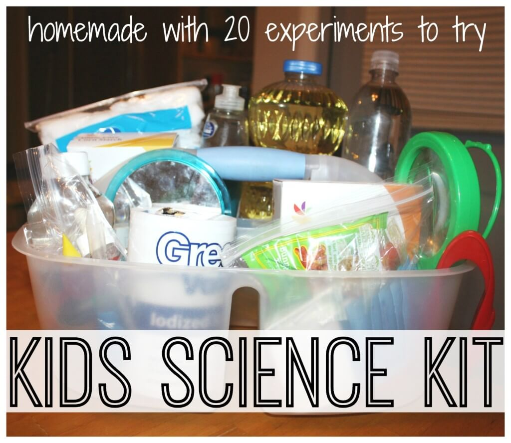 kids science kit packed into carry tote