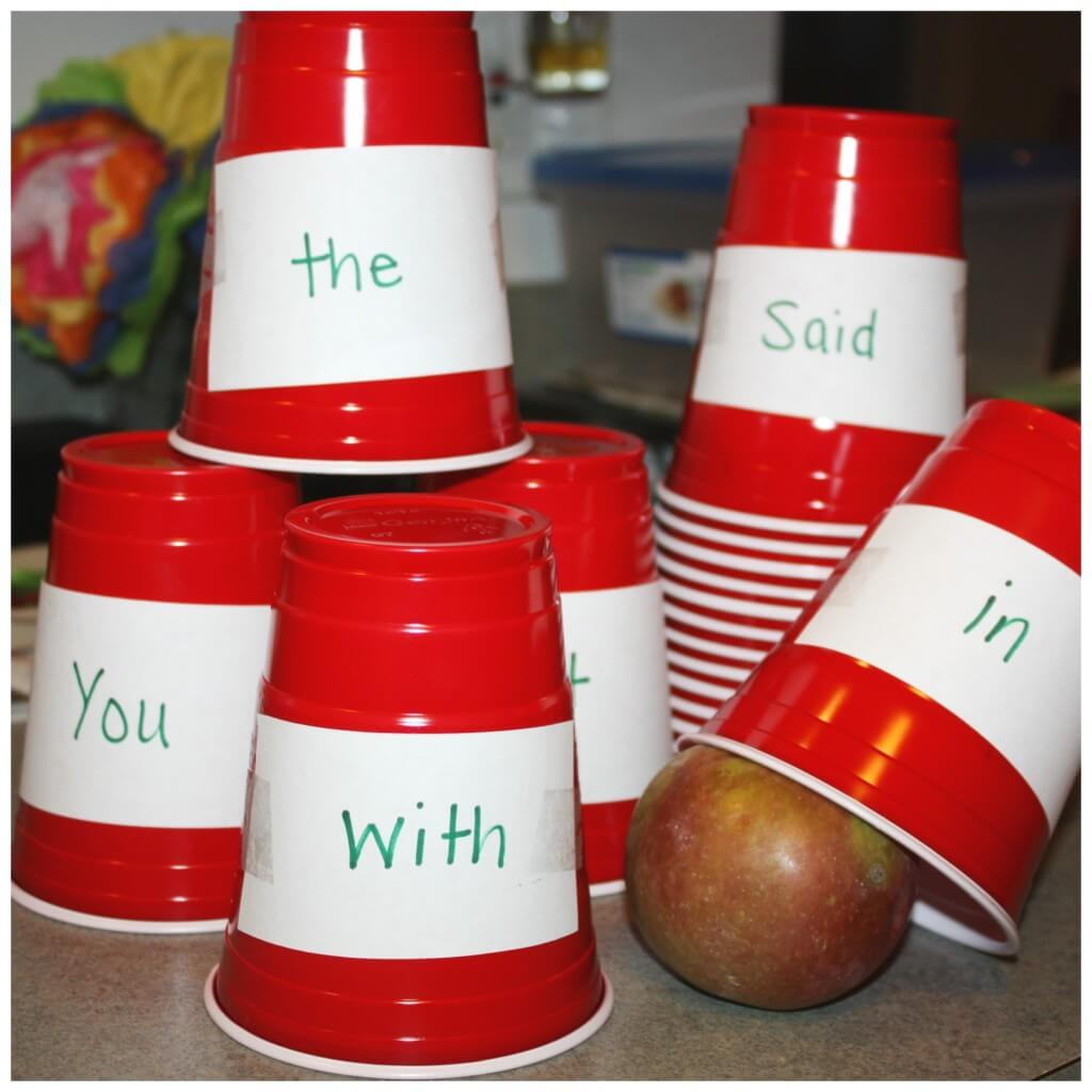 plastic cup learning games for kids sight words
