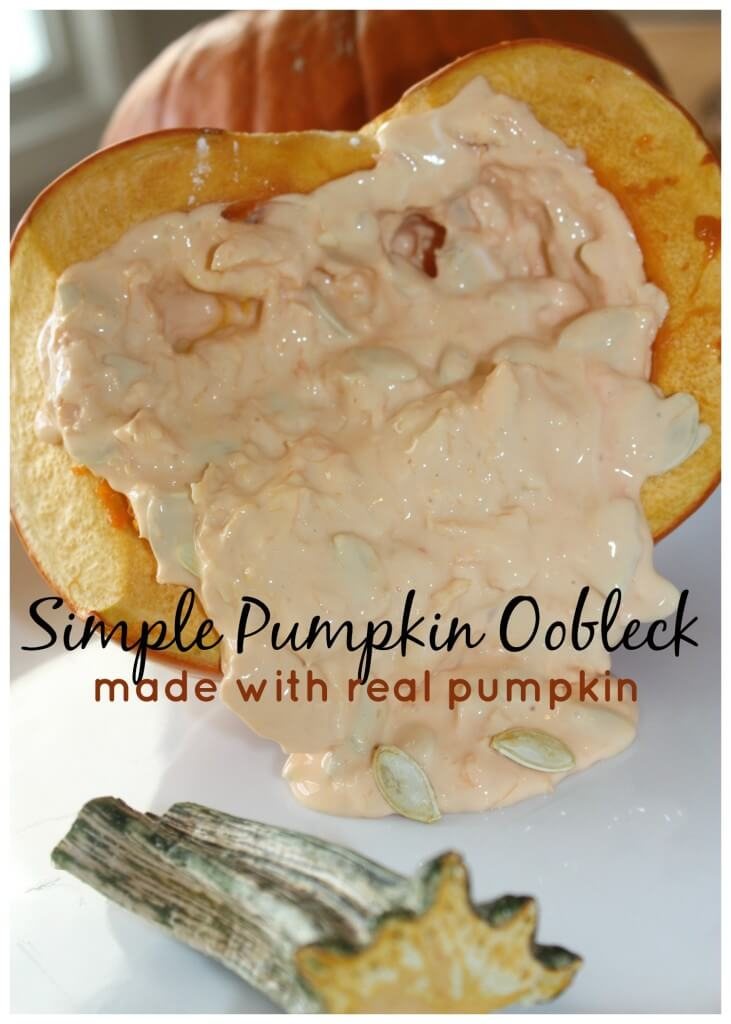Pumpkin Activities - pumpkin oobleck science sensory play made with real pumpkin