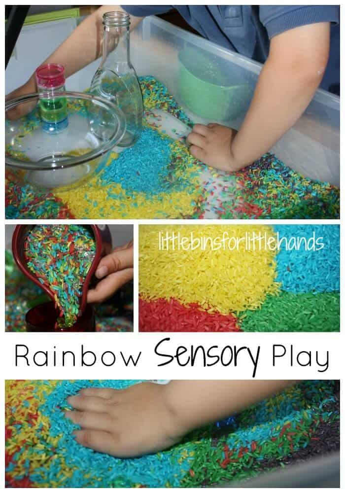 Rainbow Rice Sensory Bin Invitation To Play