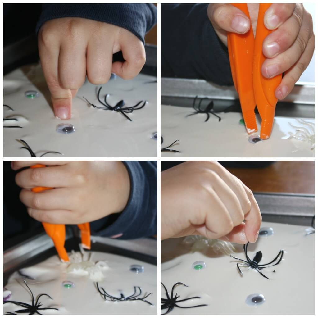 spider oobleck science fine motor play with tweezers and fingers pulling out spiders