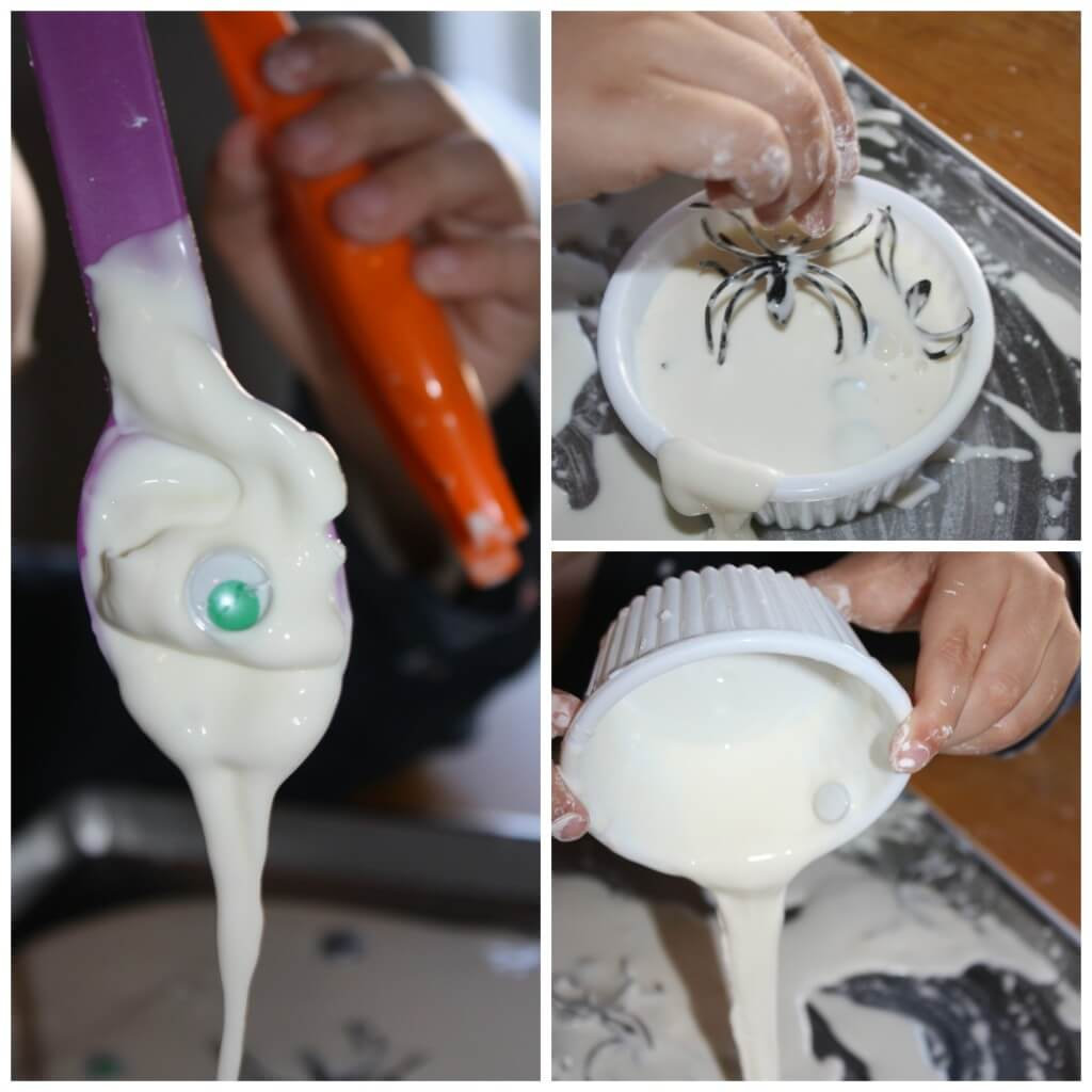 spider oobleck science sensory play messy