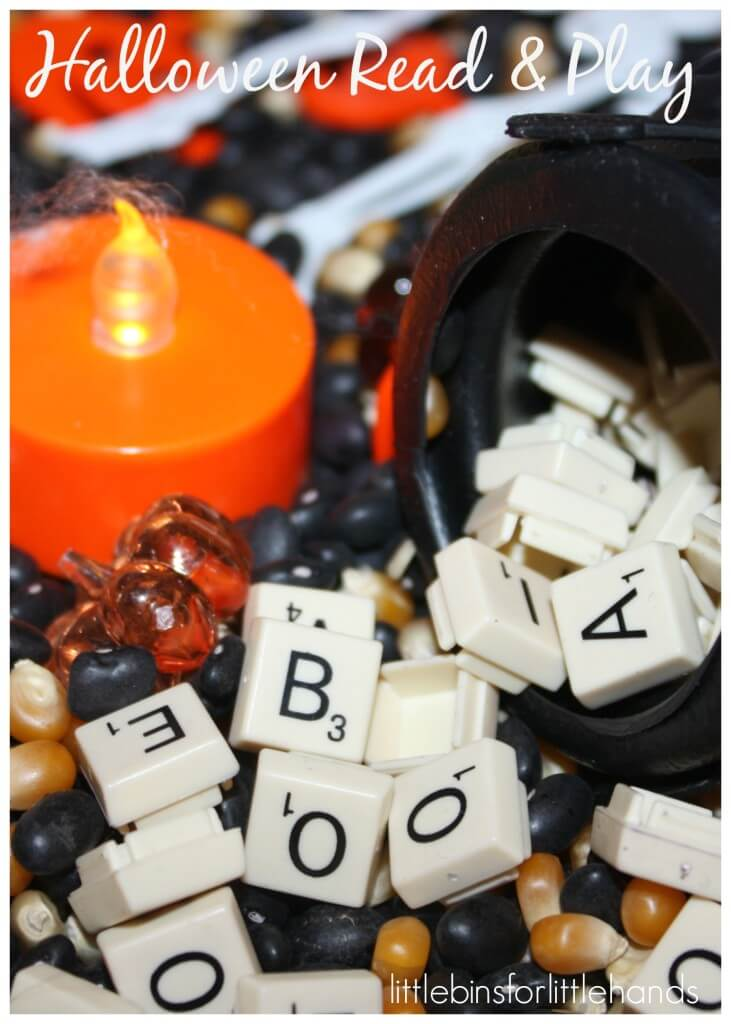 Alphabet Halloween Sensory Bin Read And Play Letter Tiles And Cauldron
