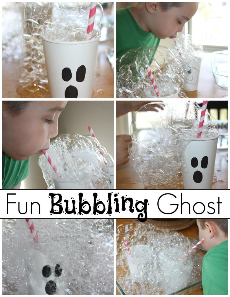 Halloween bubble science experiment and ghost activity blowing a bubble tower with homemade bubble solution.