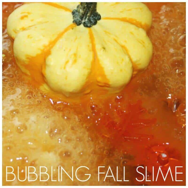 Fall Bubbling Slime Science Sensory Play