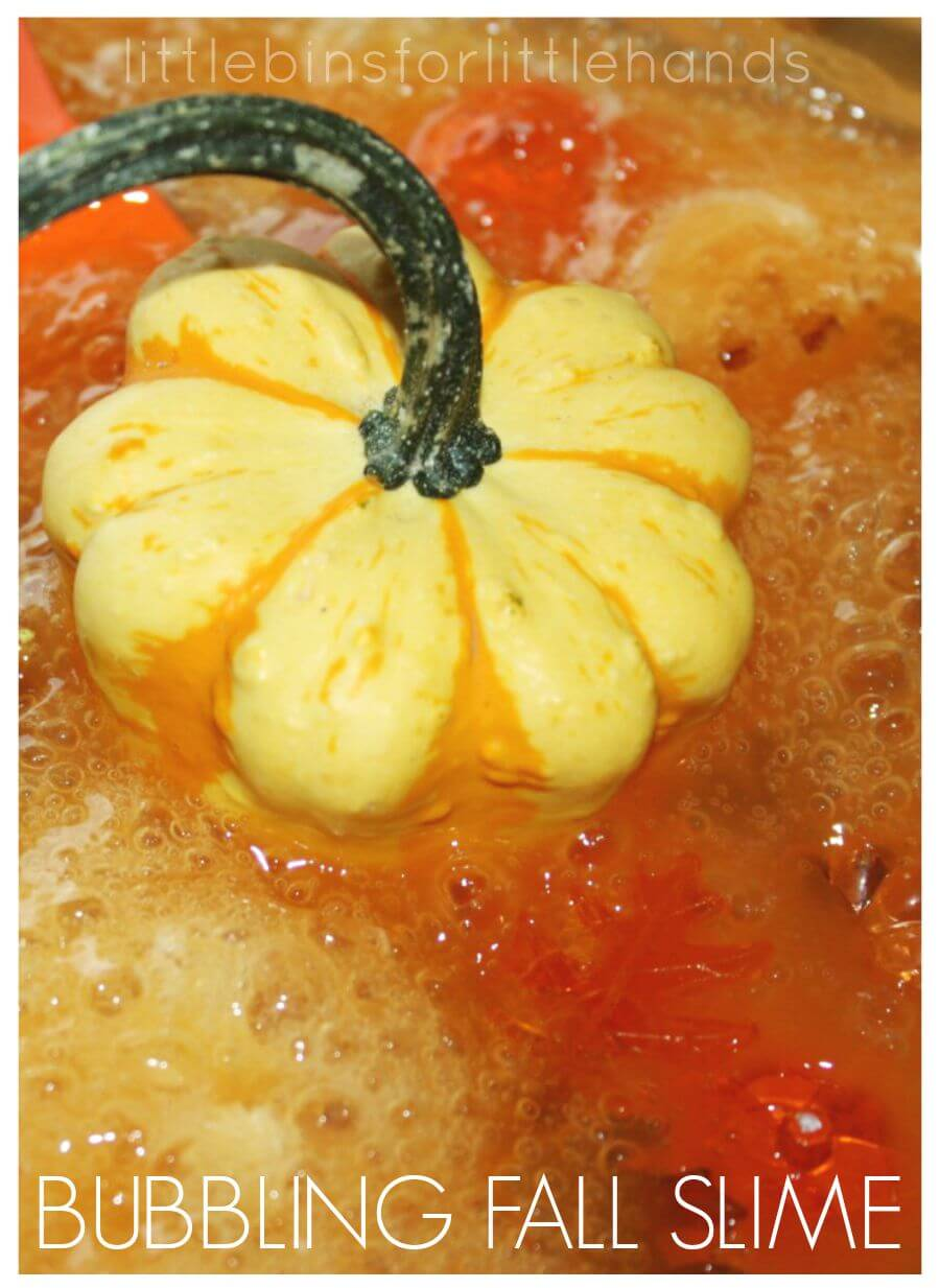 Fall Bubbling Slime Science Slime recipe for Sensory Play