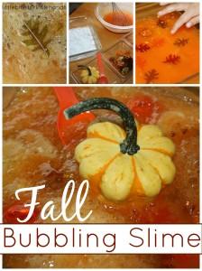 Fall Bubbling Slime Sensory Play