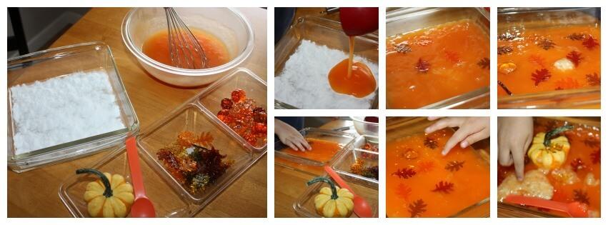Fall Bubbling Slime Set Up Sensory Play