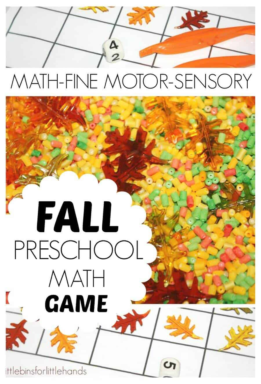 Fall Counting Game Preschool Math Game Fine Motor Skills Sensory Play Fall Activity