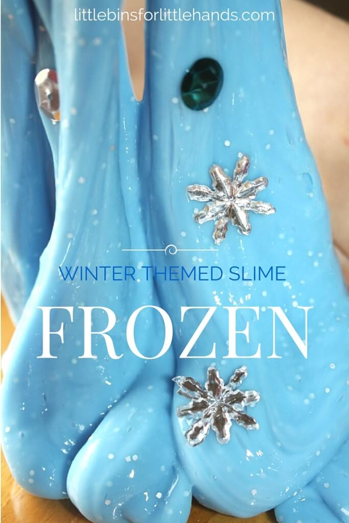 Frozen Theme Winter Slime Recipe Science Activity Sensory Play