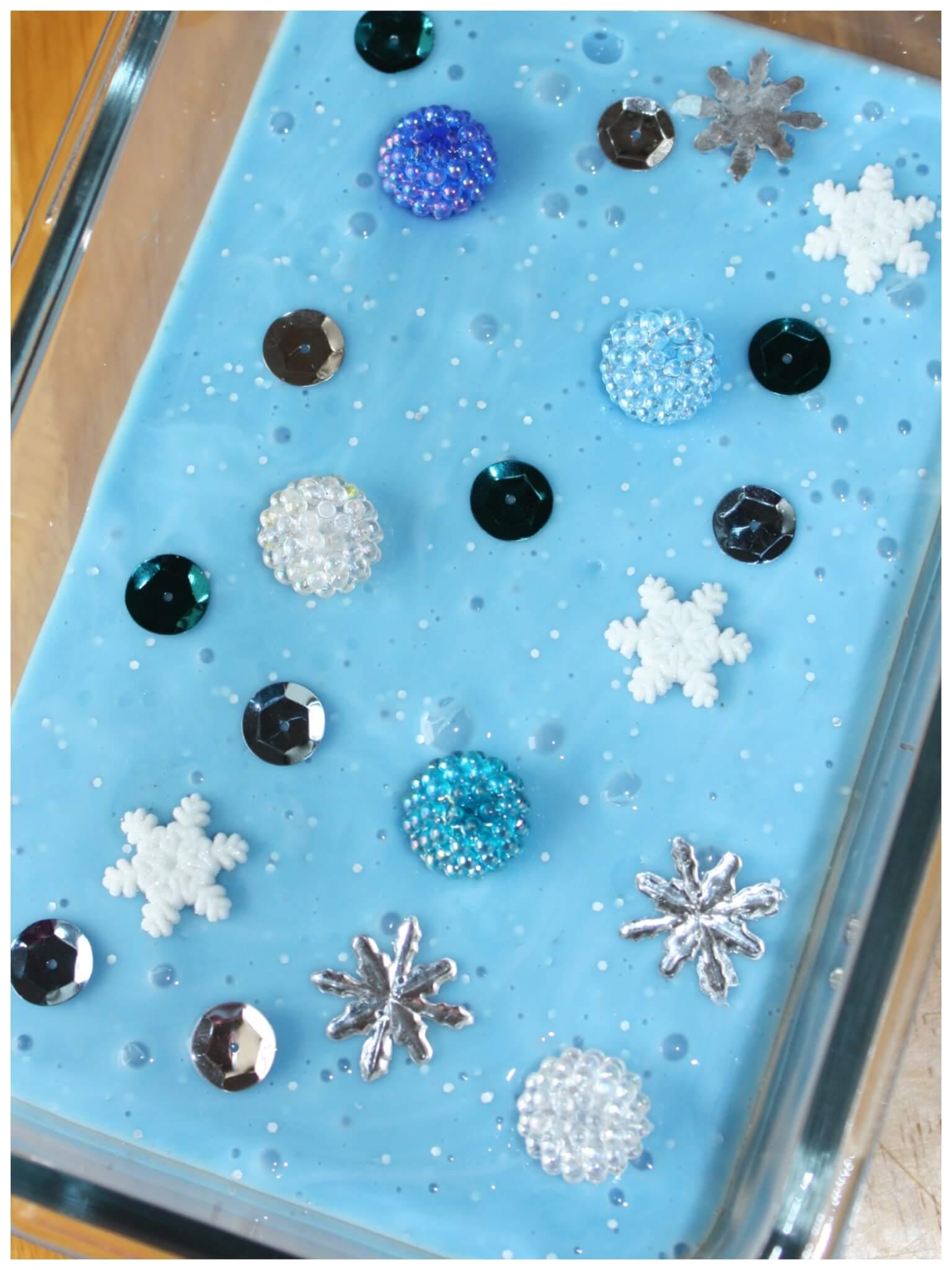 Frozen Theme Easy Slime For Winter Sensory Play