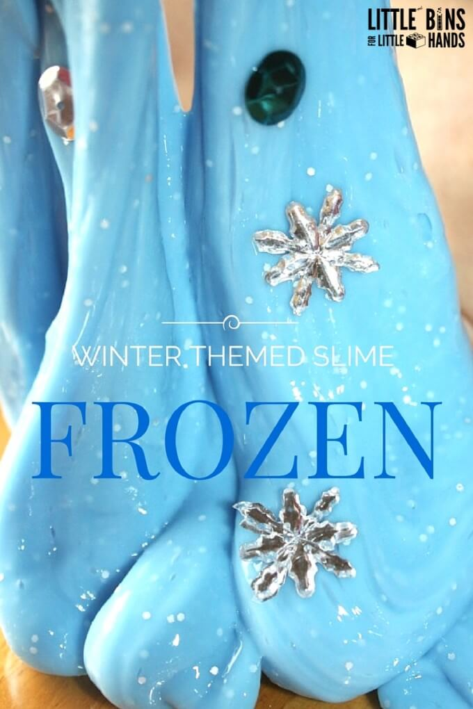 Frozen theme slime for winter sensory play and winter science inspired by the movie Frozen for kids activities.