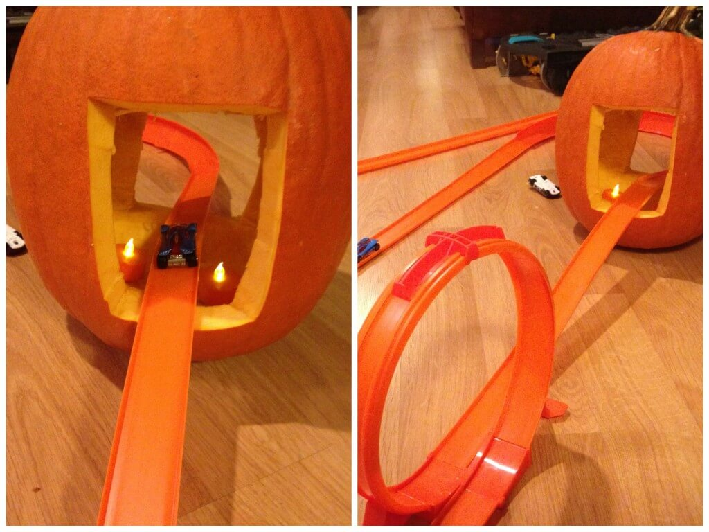 Harvest Hot Wheels Car Track Set Up On Floor