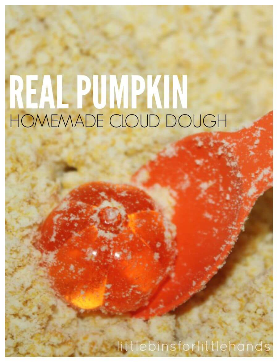 Pumpkin Homemade Cloud Dough 3 Ingredient Taste Safe Recipe Fall Sensory Play