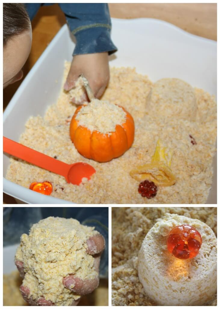 Pumpkin Homemade Cloud Dough Sensory Play Bin