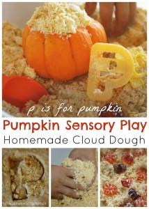 Pumpkin Homemade Cloud Dough Sensory Play P is For Pumpkin