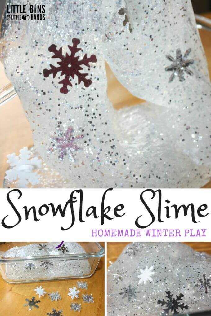 A snowfall right in your slime. Who doesn't love a good slime, and it's so easy to make if you have the right recipe. We do slime right! This time we chose a cold weather theme for our winter snowflake homemade slime! Beautiful, sparkly and perfect for the first snowfall! Making homemade slime with kids is awesome science and sensory play for winter.